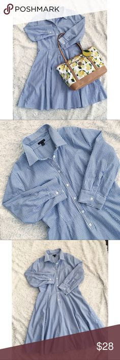 """ANN TAYLOR Pinstripe Shirt-Dress A-like/Flare Blue & white pinstripe shirtdress in Excellent Condition. 3/4 sleeves, and 1/2 Button Down Top. Length: 34"""", Pit to Pit: 20.5"""". ✨OFFERS WELCOME✨ Bag will be available soon! Ann Taylor Dresses"""