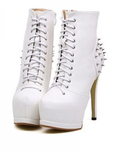 Super Sexy White Studded High Heels Fashion Boots