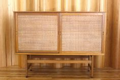 Hans Wegner oak and rattan highboard - model RY33 - manufactured by Ry Mobler, Denmark. This example is date stamped 27th April 1962. twentiethcenturyantiques.co.uk