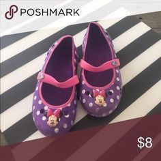 Little girls mini mouse Crocs Purple and pink Mary-Jane style crocs!! Little used. Shoes Sandals & Flip Flops