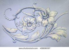 Tracery, decorative ornament. Acrylic