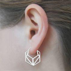 Geometric Hexagonal Sterling Silver Hoop Earrings