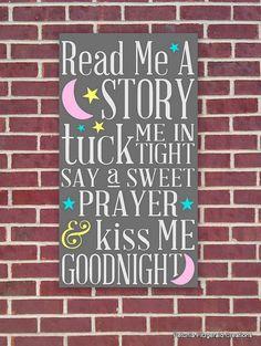 **Bentley**12x22 Nursery Art  Read Me A Story / Tuck Me by petuniafitzgerald, $60.00