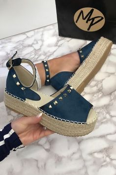 Brooke Blue Espadrille Flatforms. Order Today & Take Your Wardrobe From Zero To 100 At MissPap.