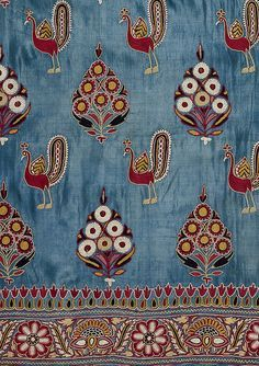 Folk Art, Circa 1880, Colors Palettes, Indian Textiles  #TheSandalwoodRoom #Singapore