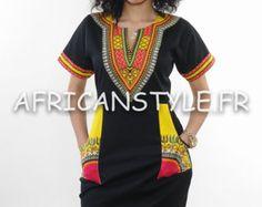 Dashiki black cotton dress by AfricanStyleAS on Etsy
