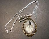 Mouse Clock and Hourglass Charm Sterling Necklace