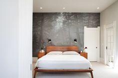 Custom wall mural creates a sense of harmony in the contemporary bedroom