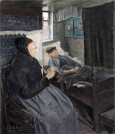 The painting of the bedridden man and his knitting wife is painted in the village Baldersbrønde by Hedehusene. Pinned from the Swedish blog Den Hirschsprung.