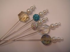1B.a collection of 5 crystal pearl hat pins for hats corsages or craft  £2.95