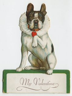 vintage Valentine's card. Boxer wearing a ruffled clown collar and heart