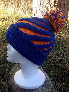 broncos knit | Denver Broncos Knitted Blue Orange Swirl Pom Pom Hat 36