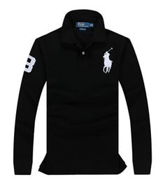 POLO RALPH LAUREN shirt with long sleeves black with gold logo
