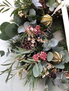 Christmas // How to Make a Wreath - Roses and Rolltops Artificial Christmas Wreaths, Christmas Swags, Christmas Flowers, Holiday Wreaths, Winter Christmas, Christmas Decorations, Christmas Flower Arrangements, Artificial Flower Arrangements, Artificial Flowers