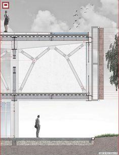 Galeria - Menção Honrosa no Concurso CBCA / Alexandre Engel, Lucas Sulzbach… Cantilever Architecture, Detail Architecture, Architecture Concept Diagram, Architecture Drawings, School Architecture, Architecture Plan, Chinese Architecture, Futuristic Architecture, Planer Layout