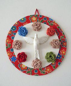 Mandala do Espírito Santo com detalhes em crochê- Estampa 9