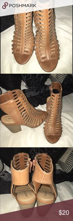 Brown heels Cute light brown heel sandal with peep toe. They are on great condition and look brand new. Only worn once!! Rampage Shoes Wedges