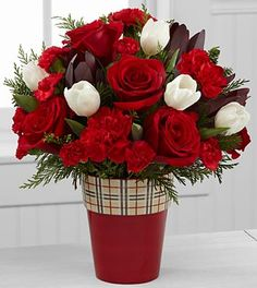 Christmas Comforts Rose & Tulip Bouquet - 16 Stems - VASE INCLUDED