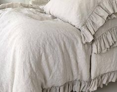 LINEN DUVET COVER. Shabby Chic linen ruffled duvet cover with ruffles, linen bedding. Softened and washed linen. Made by MOOshop.*new 1