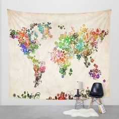 Floral world map print travel nursery tropical vanity art office world map floral wall tapestry by bekim art society6 gumiabroncs Images