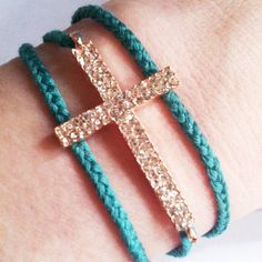 Rose gold cross and braid bracelet
