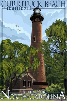 Currituck Beach Lighthouse Day Scene - Outer Banks, North Carolina - Lantern Press Poster