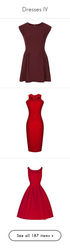 """""""Dresses IV"""" by boiteasecrets ❤ liked on Polyvore featuring dresses, vestidos, topshop, robe, mulberry, petite, fit flare dress, red crepe dress, red fit and flare dress and back zipper dress"""
