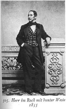 Man in frock coat with plaid vest, 1855. from Karl Kohler's Kostumewerk