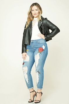 """Forever 21+ - A pair of boyfriend jeans featuring a mid-rise, a five-pocket construction, an allover distressed design, and front patches with """"Original"""", a """"Hello California"""" license plate, a """"My Way"""" arrow, a large rose, and lips."""