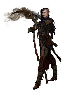 Female Half-Elf Cleric of Urgathoa with Scythe - Pathfinder PFRPG DND D&D d20 fantasy
