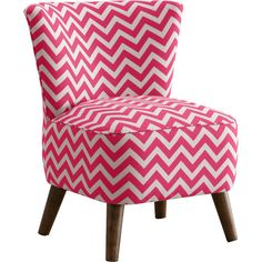 Made to Order Skyline Furniture Upholstered Chair in Zig Zag Candy... ($250) ❤ liked on Polyvore featuring home, furniture, chairs, pink, fabric chairs, patterned chairs, skyline furniture, plush chair and pink upholstered chair