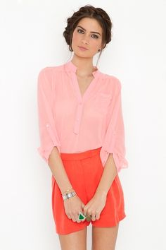 Working Girl Shorts - Coral in What's New at Nasty Gal - Svpply