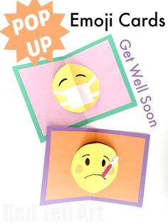 Easy emoji Pop Up Card DIY - emoji get well soon designs - these pop up cards are SO SO SOOO easy to make. Love that you have one technique, but so many occassional designs to choose from!