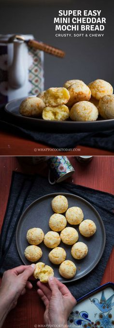 Super Easy Mini Cheddar Mochi Bread - Learn how to make one of the easiest gluten-free, crusty on the outside, soft and chewy on the inside mochi bread. This is truly fuss-free recipe and a big hit in our house. Easy Asian Recipes, Easy Bread Recipes, Pastry Recipes, Korean Recipes, Mochi Bread Recipe, Mochi Muffin Recipe, Appetizer Recipes, Snack Recipes, Appetizers