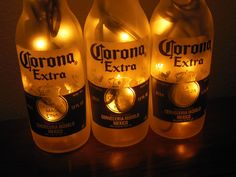 Corona Extra 3 Pack Beer Bottle Bar Light by SonomaRepurpose Beer Bottle Lights, Corona Bottle, Lighted Wine Bottles, Corona Beer, Beer Bottles, Sonoma County California, Tiki Decor, Black Vase, Cool Lighting