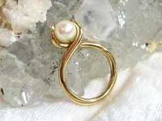 ON SALE Vintage 14K Gold Pearl Ring Size 4 1/2 by JewelrybyPatterson on Etsy
