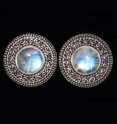 Sterling Silver Clip Earrings with Rainbow Moonstones handcrafted by Bluemoonstone Creations.