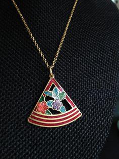 Cloisonne pendant, red cloisonne pendants, vintage red cloisonné jewelry, cloisonné pendants, vintage cloisonné jewelry, red cloisonne N105 by DuckCedar on Etsy