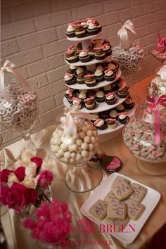 Pink Bow Wedding Cupcake Stand by Pink Cake Box works great with a candy bar/table