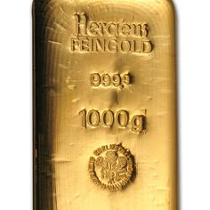 73951 2014 1-Kilo Gold Bar Poured Heraeus .9999 Fine Purity