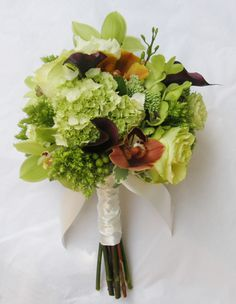 Green flowers, cinnamon & green cymbidium orchids with plum calla Bouquet