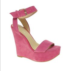 """Aldo harvat wedges Platform/wedge sandals in beautiful pink suede with a Gold buckled ankle strap. Approx. heel height: 5"""" with 2"""" platform Worn a few times a few marks ALDO Shoes Wedges"""