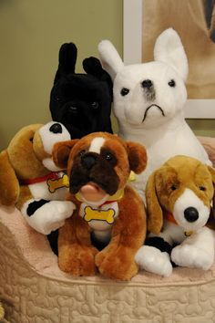 These stuffed dogs from Build-a-Bear and this puppy bed from Pet Smart  decorated the set at the Martha Show.