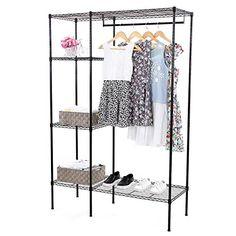 SONGMICS Shelving Garment Rack Heavy Duty Clothes Closet ...