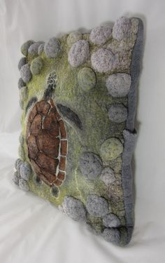Turtle swimming over the reef highly textured decorative