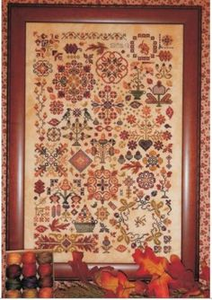 """From Rosewood Manor is this cross stitch pattern titled """"Autumn Quakers"""" that is stitched with Valdani Fiber Pack (RMC-5) which you can orde..."""