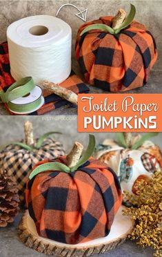 Easy Fall Craft Idea For The Home: Toilet Paper Pumpkins Looking for easy DIY fall projects? These toilet paper pumpkins are simple, fun and cheap to make! Even the kids can make this easy. Easy Crafts To Make, Easy Fall Crafts, Fall Diy, Diy And Crafts, Autumn Crafts For Adults, Fall Pumpkin Crafts, Spring Crafts, Fall Pumpkins, Crafts With Fabric