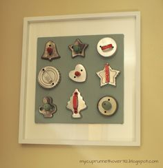 Antique Vintage Decor Have extra cookie cutters? Hang them on a frame for display! Cute way to use grandma's cookie cutters! Vintage Christmas, Christmas Crafts, Christmas Decorations, Holiday Decor, Holiday Ideas, Christmas Décor, Christmas Ideas, Christmas Ornaments, Kitsch