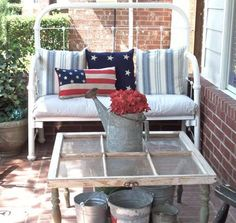 reclaimed porch ideas, pillow, window table, repurposed porch spindles, reclaim window