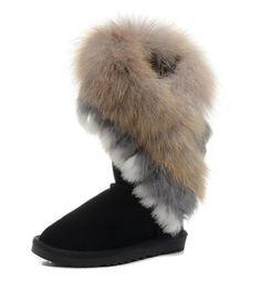 Zlyc Women's Bohemian Winter Furry Boots With Long Fur 40